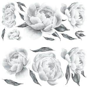 Black and White Peony Giant Peel and Stick Wall Decals