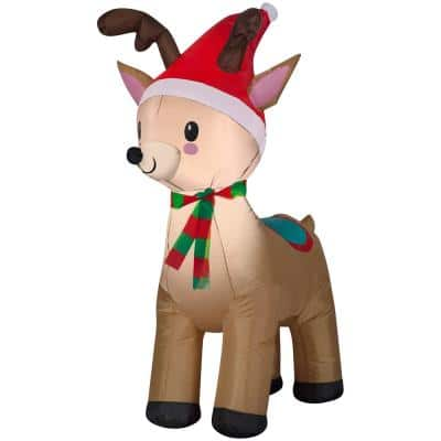 3.5 ft. Pre-Lit Airblown Inflatable Reindeer