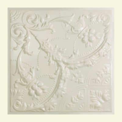 Saginaw 2 ft. x 2 ft. Lay-in Tin Ceiling Tile in Antique White (20 sq. ft. / case of 5)