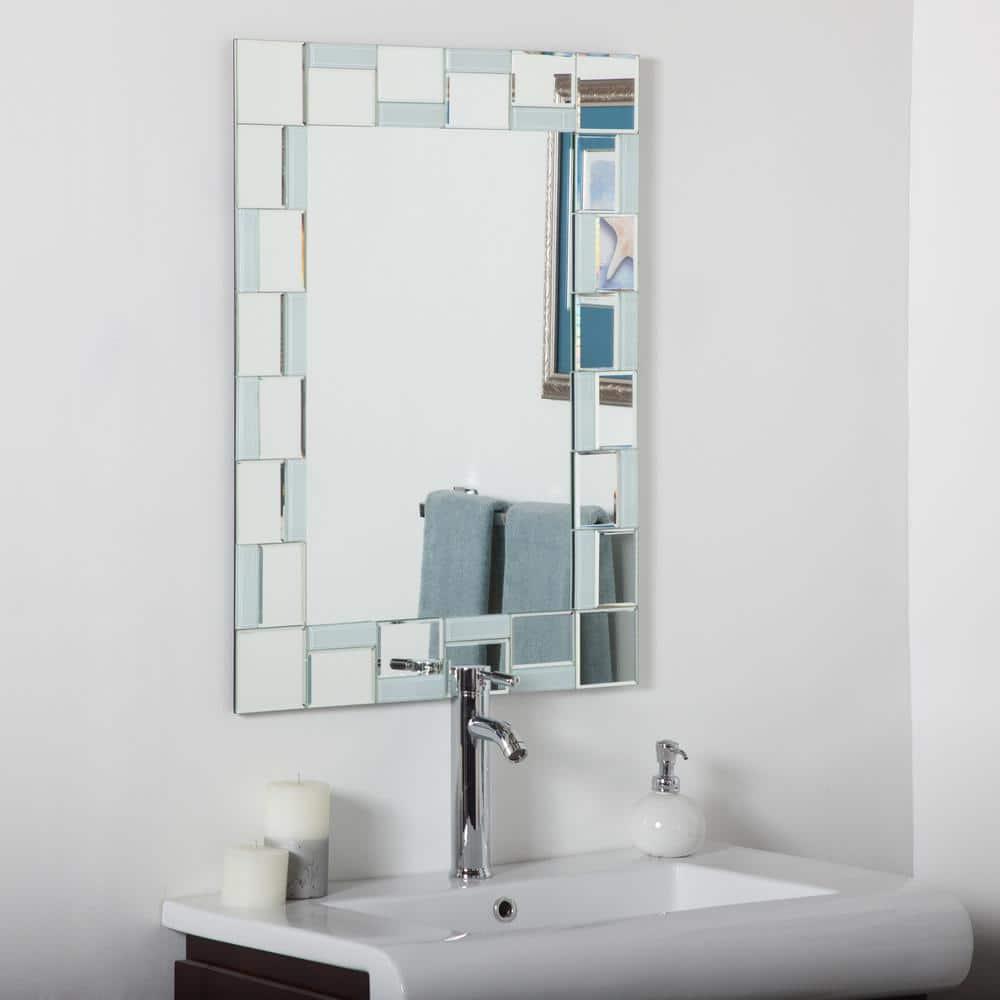 Decor Wonderland 24 In W X 32 In H Frameless Rectangular Beveled Edge Bathroom Vanity Mirror In Silver Dwsm310710 The Home Depot