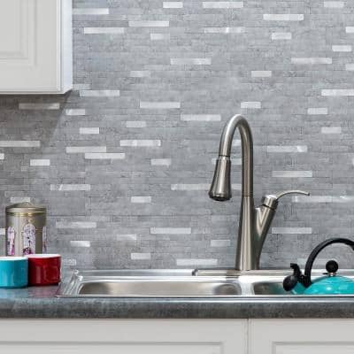 11.75 in. x 12 in. Metal and Composite Peel and Stick Backsplash in Cloud Shimmer