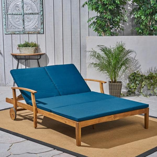 Noble House Perla Teak Brown 1 Piece, Double Chaise Lounge Outdoor