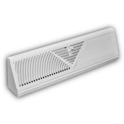 18 in. 3-Way Steel Baseboard Diffuser Supply in White