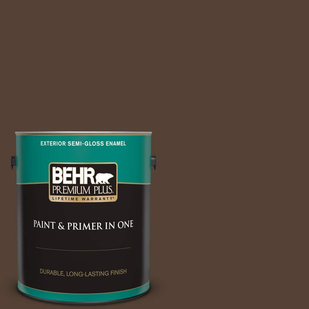 Behr Premium Plus 1 Gal Ppf 51 Dark Walnut Semi Gloss Enamel Exterior Paint And Primer In One 534001 The Home Depot