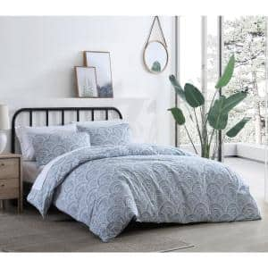 Half Moon Washed 2-Piece Blue Cotton Twin Comforter Set