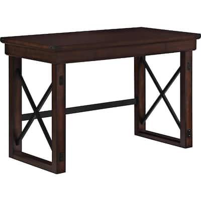 47.5 in. Mahogany Rectangular 1 -Drawer Writing Desk with X-shape Panel