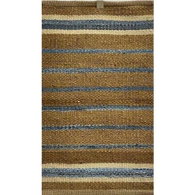Accord Blue 5 ft. x 7 ft. Coastal Striped Natural Jute Area Rug