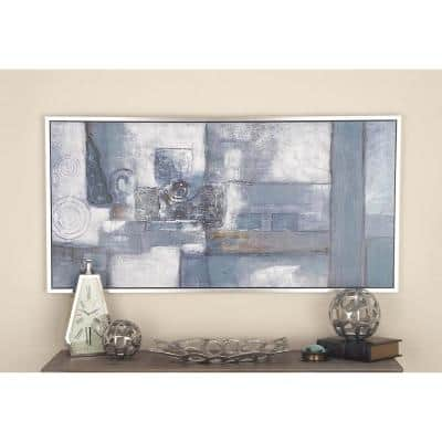 28 in. x 55 in. Abstract Geometric Art Hand-Painted Framed Canvas Wall Art