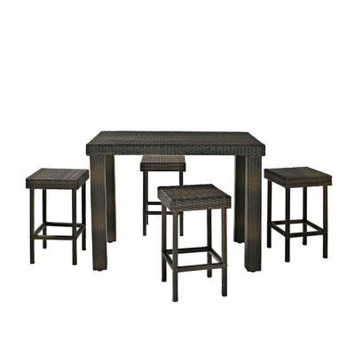 Palm Harbor 5-Piece Wicker Outdoor Bar Height Dining Set