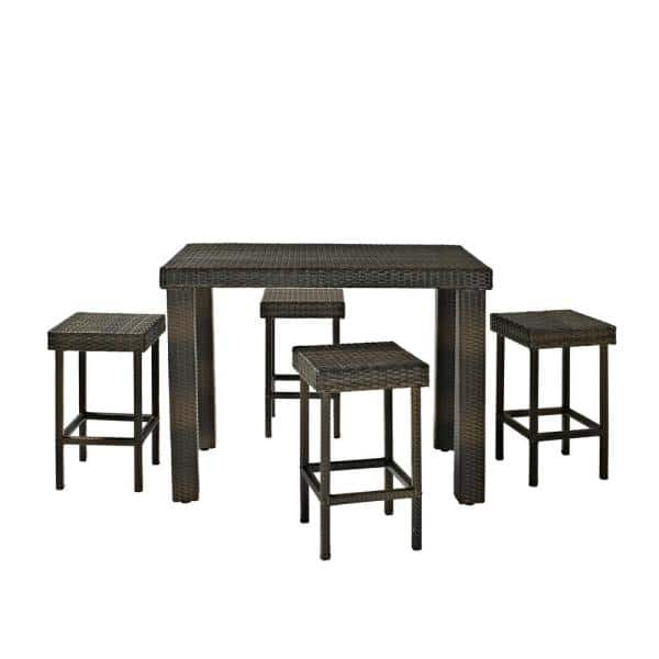 Crosley Furniture Palm Harbor 5 Piece Wicker Outdoor Bar Height Dining Set Ko70010br The Home Depot