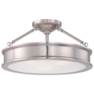 Grafton 3-Light Brushed Nickel Semi Flush Mount Ceiling Light