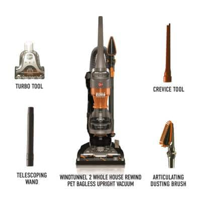 WindTunnel 2 Whole House Cord Rewind Bagless Pet Upright Vacuum Cleaner Machine with HEPA Media Filtration