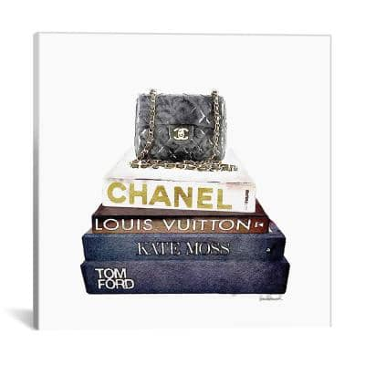 """""""Stack Of Fashion Books With A Chanel Bag"""" by Amanda Greenwood Canvas Wall Art"""