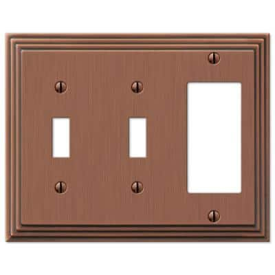 Tiered 3 Gang 2-Toggle and 1-Rocker Metal Wall Plate - Antique Copper