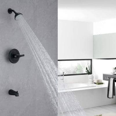 Single-Handle 4 in. Tub and Shower Faucet Set, Matte Black