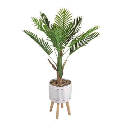 4 ft. Areca Palm in Ceramic Planter on Wood Stand
