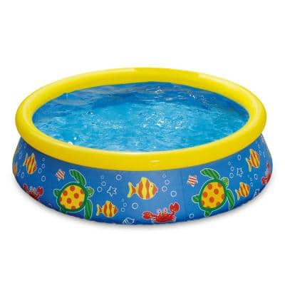 P1000515C167 5 ft. Round 15 in. Deep Inflatable Pool with Ocean Print
