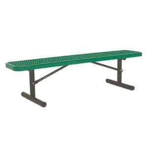 Portable 6 ft. Green Diamond Commercial Park Bench without Back