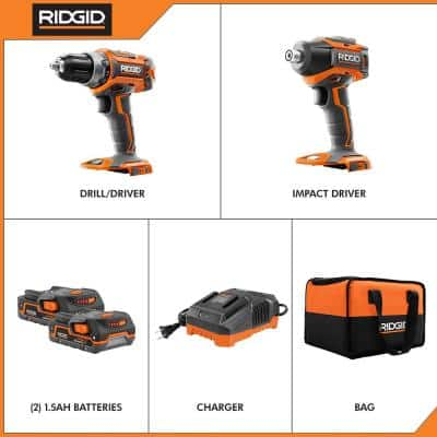 18-Volt Lithium-Ion Cordless Brushless Drill/Driver and Impact Driver Combo Kit w/(2) 1.5 Ah Batteries, Charger, and Bag