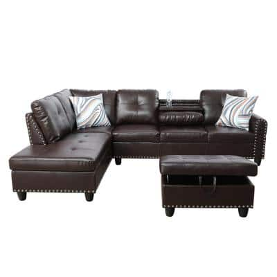 Star Home Living-3-Piece-Brown-Faux Leather-6 Seats-L-Shaped-Right Facing-Sectionals