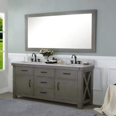 Aberdeen 72 in. W x 34 in. H Vanity in Gray with Marble Vanity Top in Carrara White with White Basins