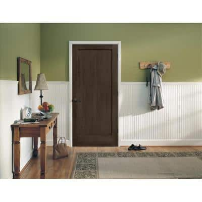 24 in. x 80 in. Madison Espresso Stain Right-Hand Solid Core Molded Composite MDF Single Prehung Interior Door