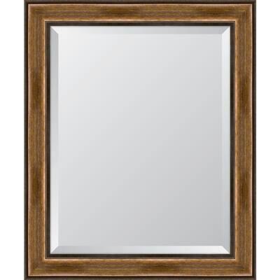 Medium Rectangle Brown Beveled Glass Classic Mirror (29 in. H x 35 in. W)