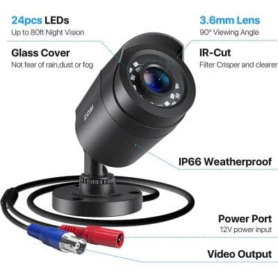 Wired 1080p Outdoor Bullet TVI Security Camera Only Compatible with TVI DVR (4-Pack) Suitable for ZOSI DVRs