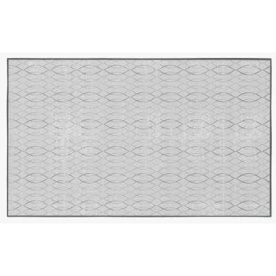 Modern Living Room with Nonslip Backing, Geometric Gray Wavies Pattern, 8 ft. x 10 ft. Large Area Rug