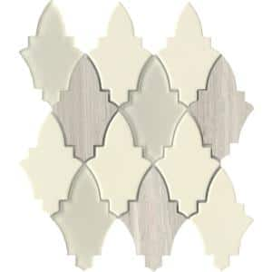Fleur Orchis 11.18 in. x 11.89 in. Floral Polished Glass Mosaic Tile (0.923 sq. ft./Each)