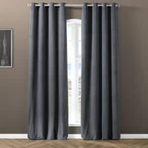 Gunmetal Grey Velvet Grommet Blackout Curtain - 50 in. W x 120 in. L