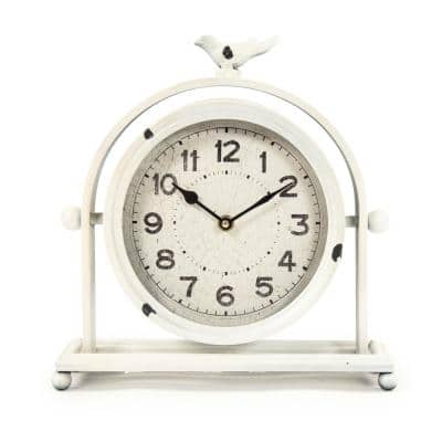 Vintage White Metal Hinged Bird Table Clock