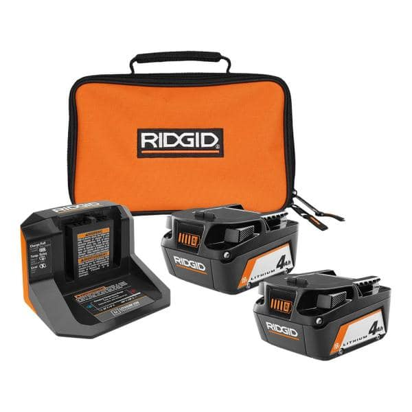 Ridgid 18-Volt Lithium-Ion (2) 4.0 Ah Battery Starter Kit w/Charger and Bag