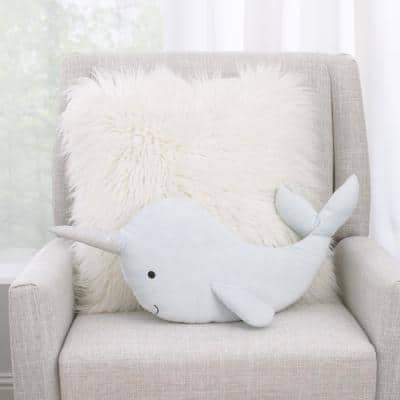 Light Blue Whimsical Narwhal Shaped Polyester 15 in. x 18 in. Decorative Throw Pillow with 3D Silver Metallic Horn