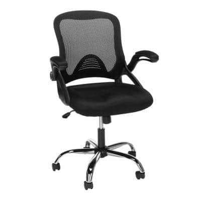 Essentials Collection Black Mesh Back Office Chair, Task Chair with Flip-up Arms (ESS-3013-BLK)