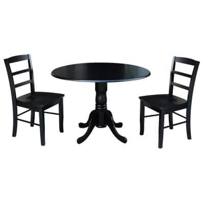 3-Piece 42 in. Black Dual Drop Leaf Table Set with 2-Side Chairs
