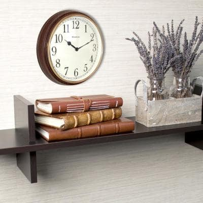 15.5 in. Wood Grain Finish Wall Clock with Bezel