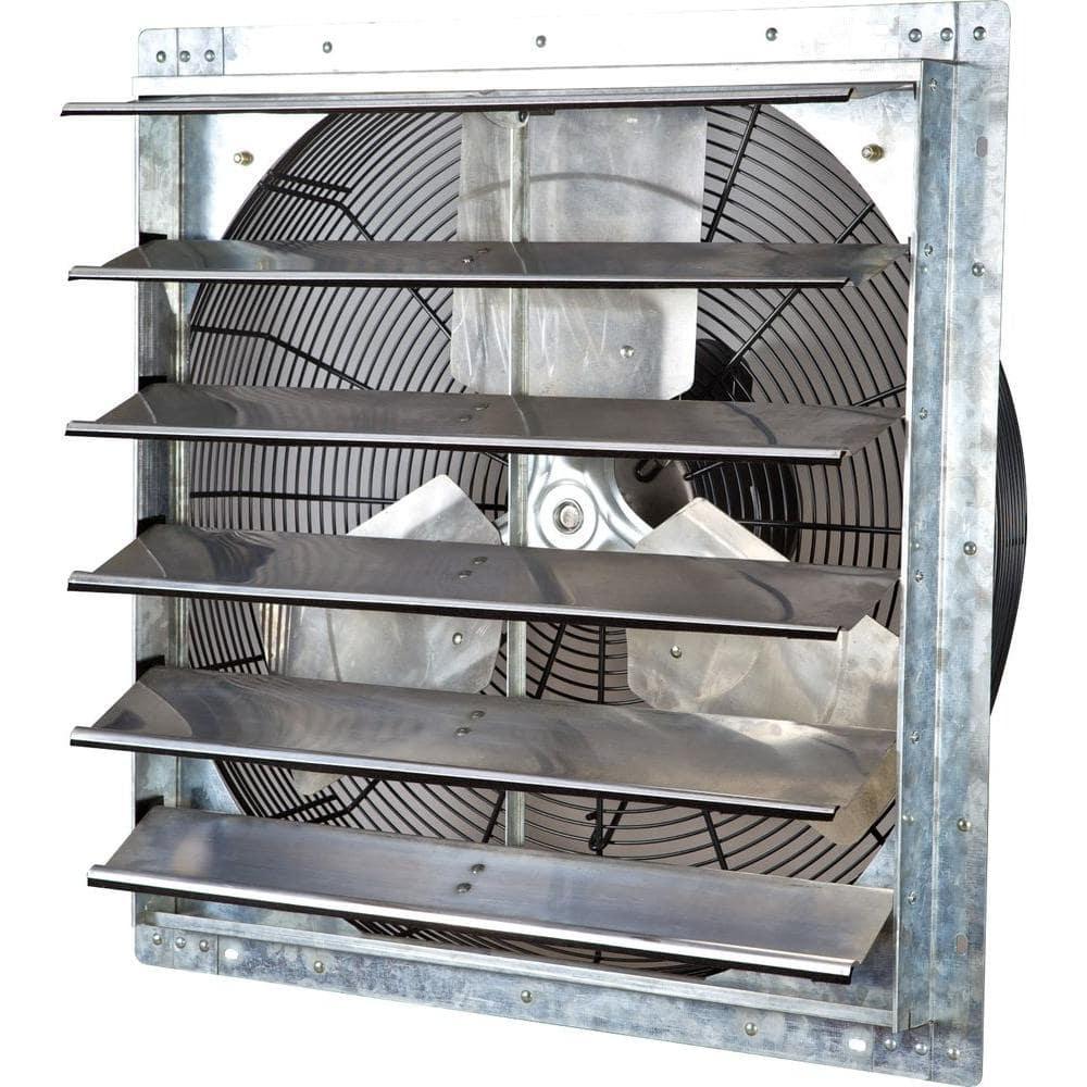 iliving 4244 cfm silver electric powered gable mount shutter fan vent ilg8sf24v the home depot
