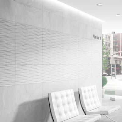 Varana White 13 in. x 25 in. Glazed Porcelain Decorative Wall Tile (10.76 sq. ft./case)