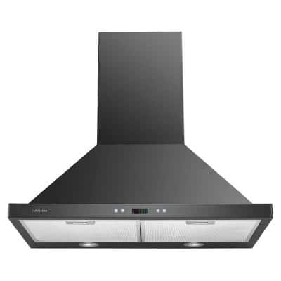 30 in. Convertible Wall Mount Range Hood with Lights in Stainless Steel with Black Finish