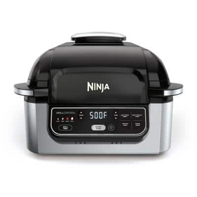 Foodi 5-in-1 Black Stainless Indoor Grill with 4 Qt. Air Fryer, Roast, Bake, Dehydrate and Cyclonic Grilling Technology