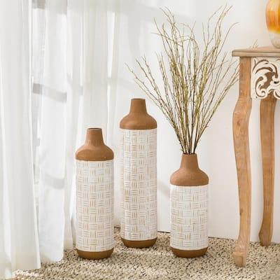 Boho/Farmhouse Decorative Table/Floor Metal Vases (Set of 3)