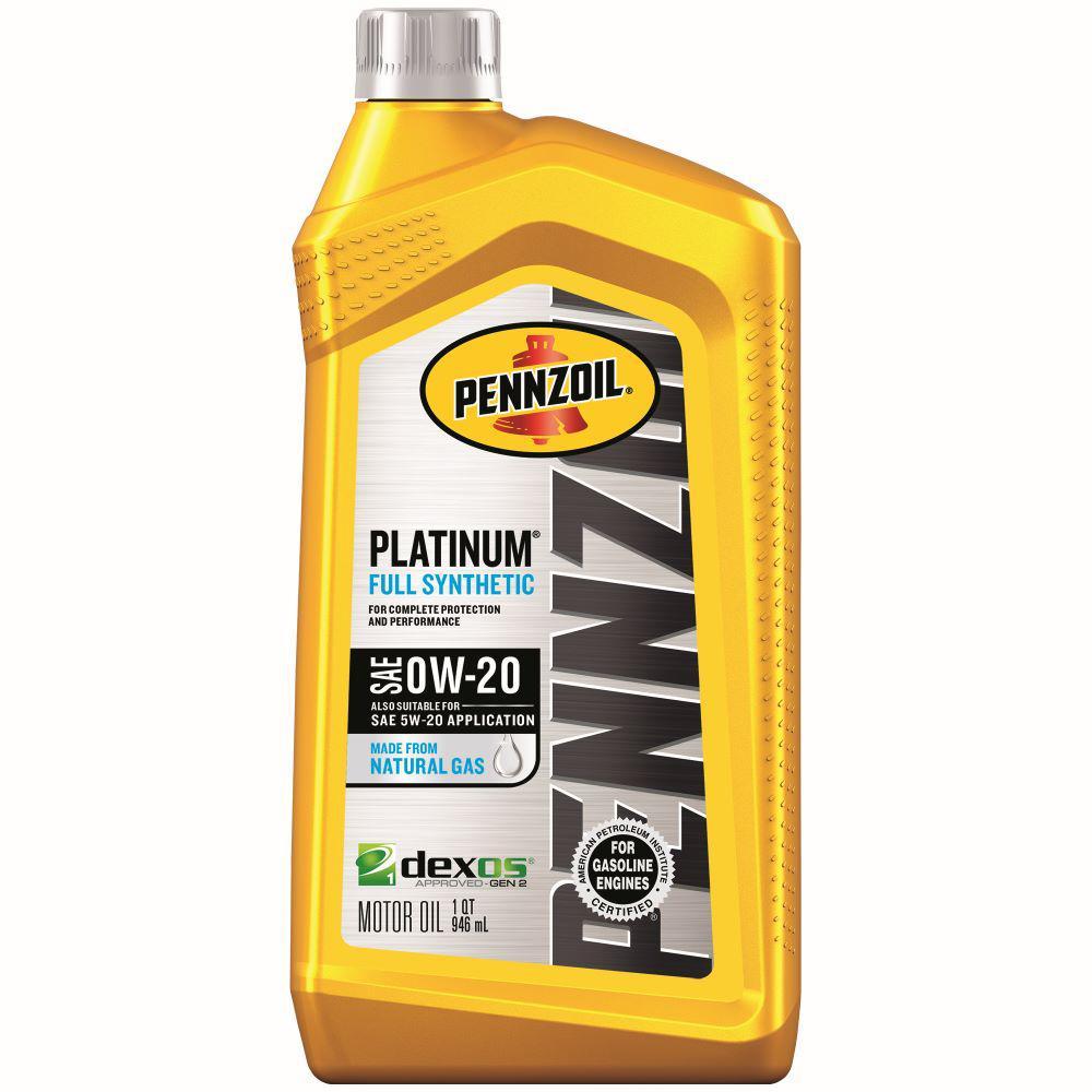 Pennzoil Platinum SAE 0W-20 Full Synthetic Motor Oil - 1 Qt.