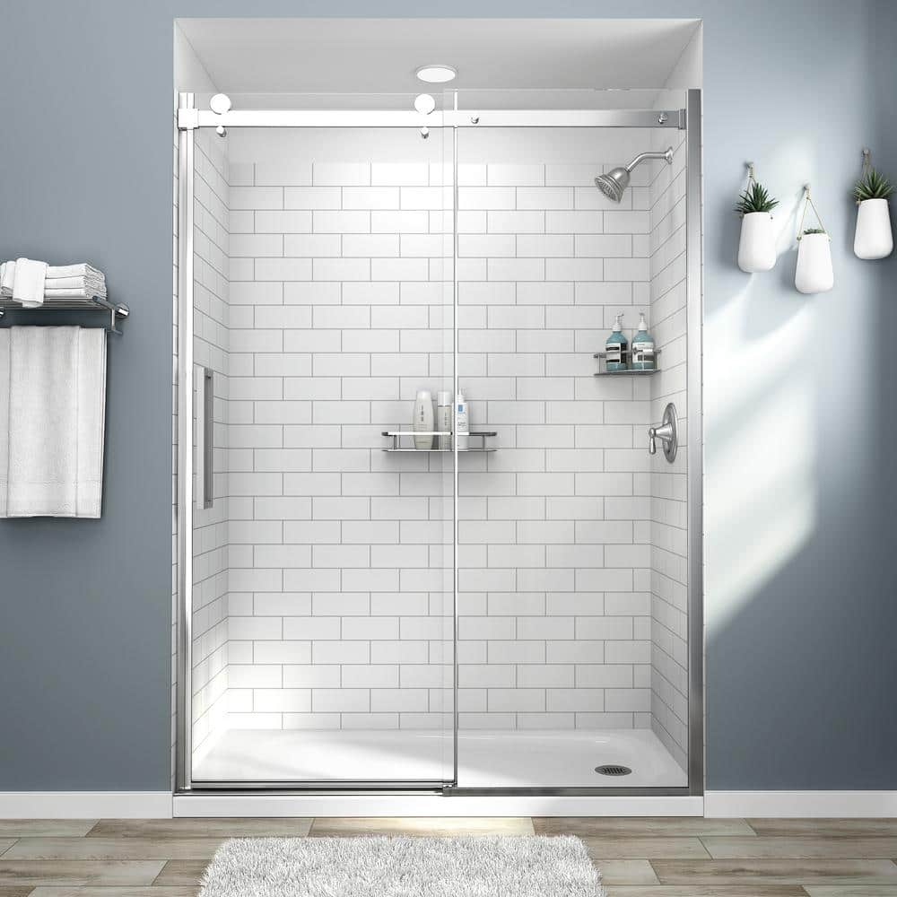 American Standard Passage 32 In X 60 72 4 Piece Glue Up Alcove Shower Wall White Subway Tile P2969swt 375 The Home Depot