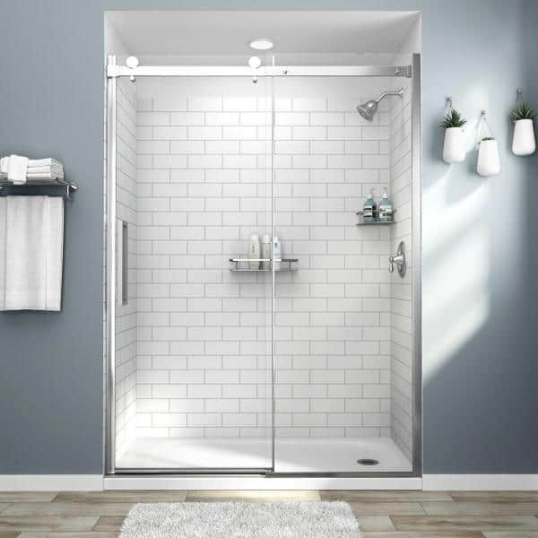 American Standard Passage 32 In X 60 In X 72 In 4 Piece Glue Up Alcove Shower Wall In White Subway Tile P2969swt 375 The Home Depot
