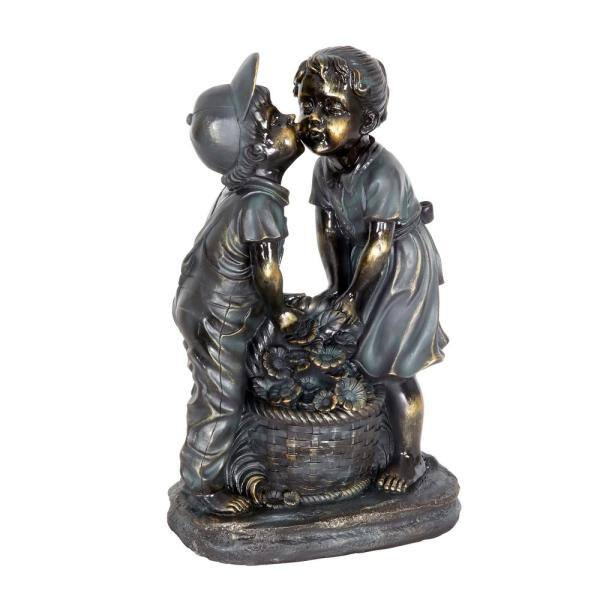Exhart Kissing Boy And Girl In Bronze Look Statue 16940 Rs The Home Depot
