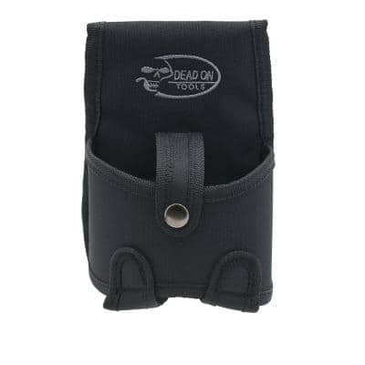 Tape Measure Pouch Holder in Black with Dual Fastening System and Locking Strap with Snap