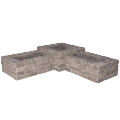 RumbleStone 73.5 in. x 17.5 in. x 73.5 in. Concrete 90° Planter Kit in Greystone