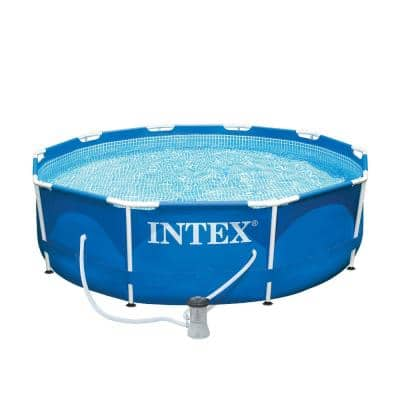 10 ft. x 30 in. Metal Frame Above Ground Swimming Pool Set with Filter Pump