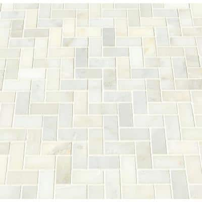 Greecian White Herringbone Pattern 12 in. x 12 in. x 10 mm Polished Marble Mosaic Tile (10 sq. ft. / case)